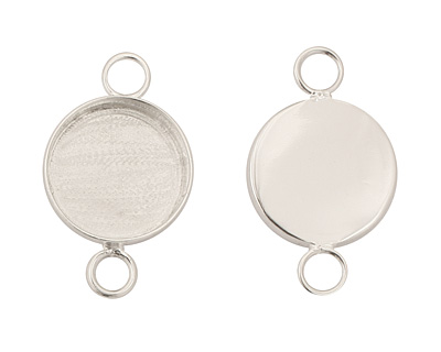 Silver (plated) Circle Bezel Link 19mm