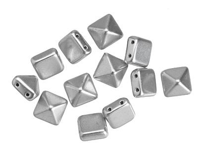 Czech Glass Silver (matte) 2-Hole Pyramid Stud Bead 12mm