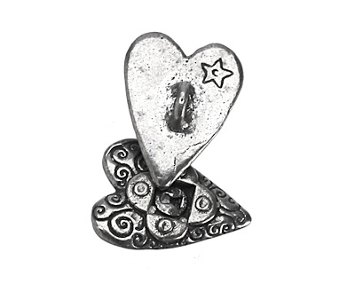 Green Girl Pewter Locked Heart Button 17x23mm