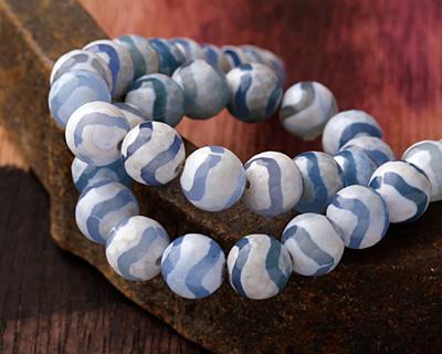 Tibetan (Dzi) Agate Blue Wave Faceted Round 10mm