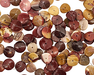 Mookaite Wavy Button 3x14-15mm