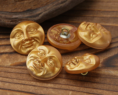 Czech Glass Matte Golden Moon Face Button 17mm
