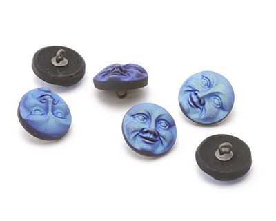 Czech Glass Matte Iris Blue Moon Face Button 17mm