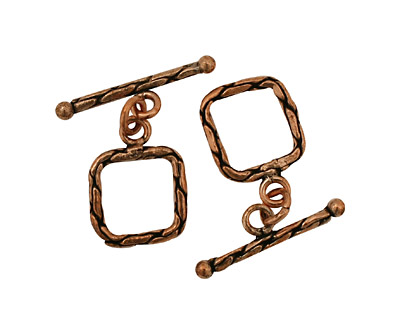 Antique Copper Square Snakeskin Toggle Clasp 15mm, 26mm bar