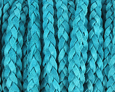 Turquoise Flat Braided Suede Leather 12mm