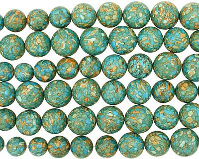 Turquoise Mosaic Magnesite Round Graduated 10-20mm