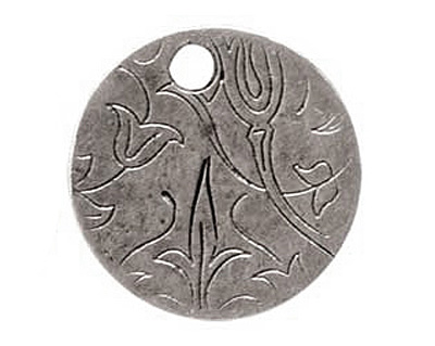 Nunn Design Antique Silver (plated) Small Circle Bird Tag 19mm