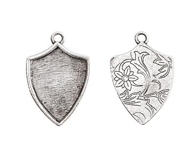 Nunn Design Antique Silver (plated) Crest Shield Bezel Pendant 20x30mm