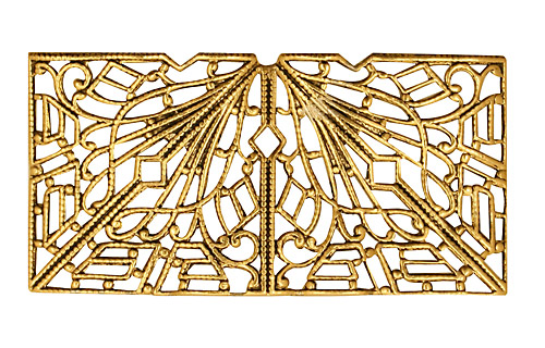 Stampt Antique Gold (plated) Short Deco Filigree Tube 26x18mm