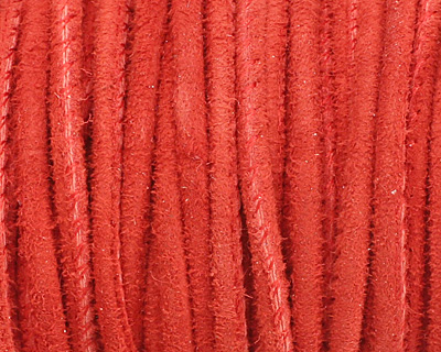 Red Stitched Suede Round Leather Cord 2.5mm