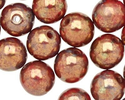 Czech Glass Dark Opaque Red Bronze Picasso Round 6mm