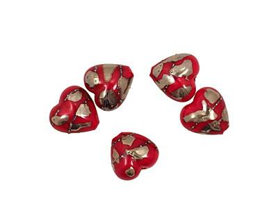 Grace Lampwork Regal Red Metallic Heart 19-20mm