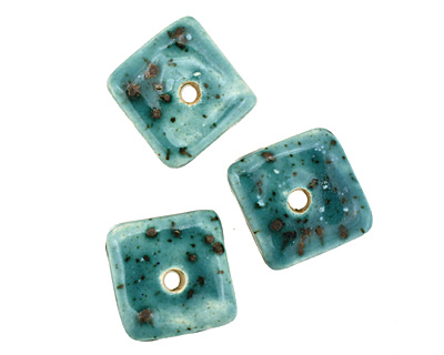 Jangles Ceramic Turquoise Small Square Disc 15mm