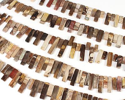 Wooden Jasper Thin Pillow Drop 10-12x18-32mm