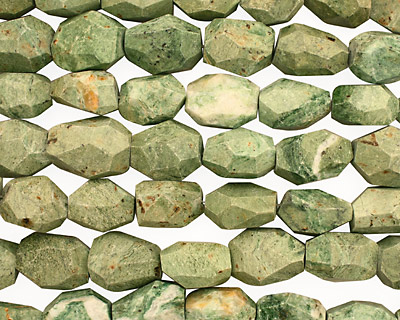 Green African Opal Faceted Nugget 20-27x18-23mm