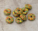African Recycled Glass & Seed Bead Green, Red & Yellow Donut 4-6x17-20mm