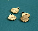 Gold (plated) Stainless Steel Tiny Scallop Shell Charm 6x7mm