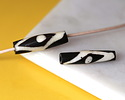 African Batiked Bone Evil Eye Rice Bead 26-31x6-11mm