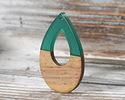 Walnut Wood & Emerald Resin Open Teardrop Focal 25x38mm