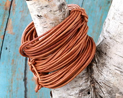Natural Light Brown Round Leather Cord 2mm, 16 feet