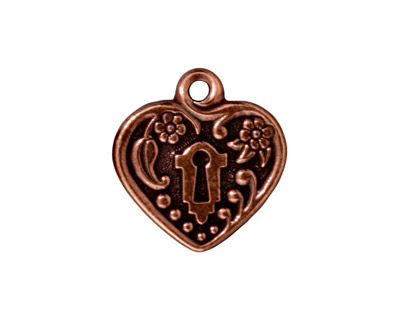 TierraCast Antique Copper (plated) Victorian Heart Frame Pendant 19mm