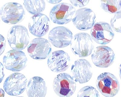 Czech Fire Polished Glass Light Sapphire AB Round 3mm