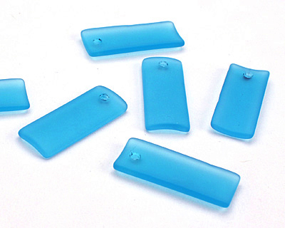 Pacific Blue Recycled Glass Bottle Curve Rectangle 14x35mm