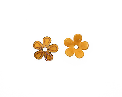 C-Koop Enameled Metal Dark Mustard 5 Petal 15mm