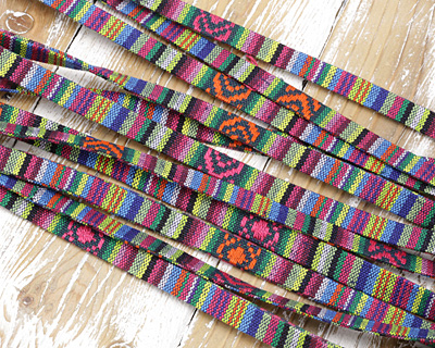 Pink & Green Flat Woven Cotton Cord 10mm