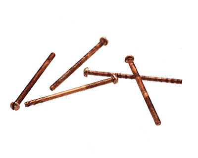 Copper (plated) Round Head Machine Screw 0-80x1