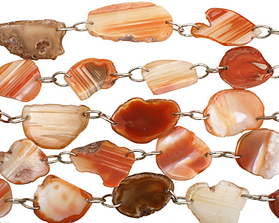 Orange Agate w/Double Rings Natural Edge Freeform Faceted Slab 41-46x27-28m