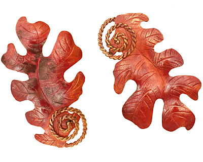 Patricia Healey Copper Oak Leaf Pendant 33x57mm