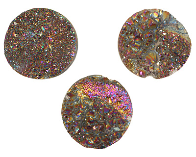 Druzy (metallic rainbow) Round Cabochon 30mm