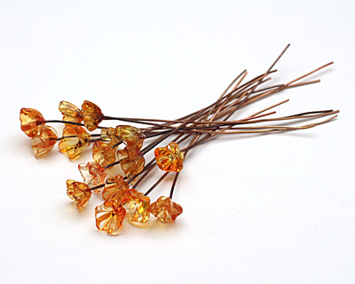 Painting with Fire Transparent Yellow/Orange Glass Flower Headpin 9-10mm