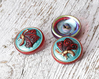 Czech Glass Ruby & Gold Butterfly on Turquoise Button 18mm