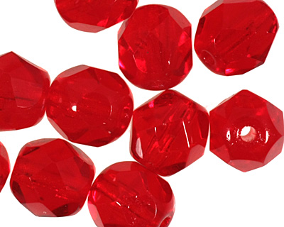 Czech Fire Polished Glass Siam Ruby Round 6mm