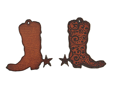 The Lipstick Ranch Etched Rusted Iron Cowboy Boot Pendant 56x60mm