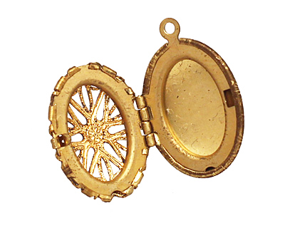 Brass Oval Filigree Heirloom Locket 17x25mm