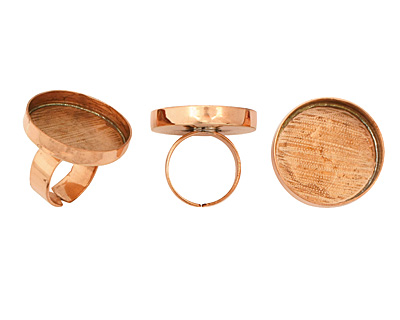 Copper Adjustable Ring Circle Bezel 27mm