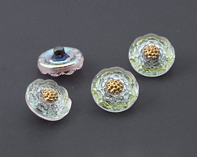 Czech Glass Crystal Clear AB w/ Gold Carnation Button 14mm