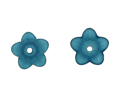 Lucite Teal 5 Petal Petunia Flower 7x11mm