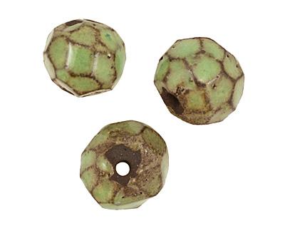 Gaea Ceramic Spring Green on Chocolate Geode Round 11-12x13-14mm