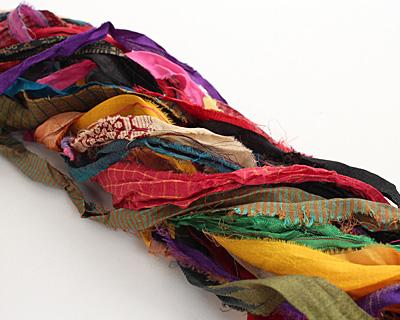 Multi-Color 100% Silk Sari Ribbon