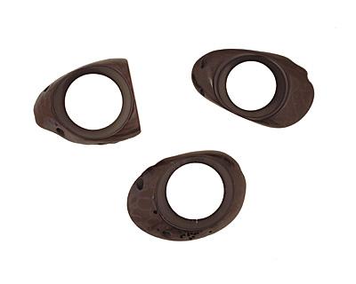 Tagua Nut Black Open Slice (side drilled) 33-45x24-36mm
