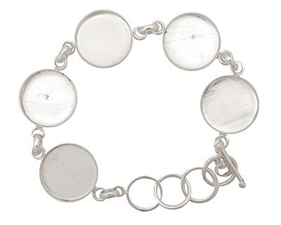 Silver (plated) Circle Bezel Link Bracelet 19mm