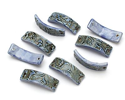 Earthenwood Studio Ceramic Blue Floral Scroll Bracelet Bar 44-46x15-16mm