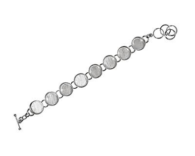 Silver (plated) Circle Bezel Link Bracelet 17mm
