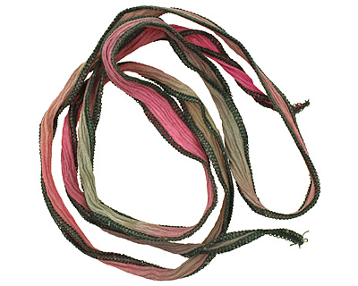 Pink/Green Blend Hand Dyed 100% Silk Ribbon