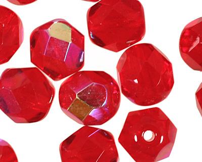 Czech Fire Polished Glass Siam Ruby AB Round 6mm