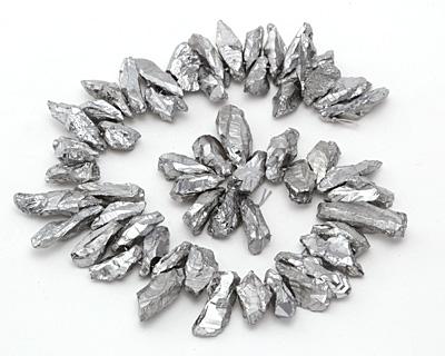 Metallic Silver Quartz Shard Drop 7-18x14-45mm